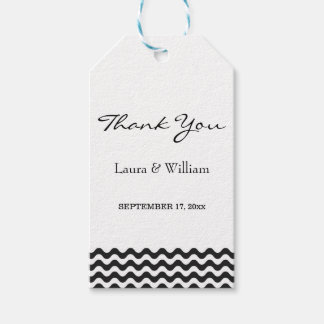 Wedding Thank You Gift Tags | Black Waves Chevron Pack Of Gift Tags