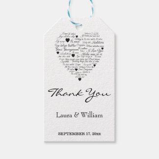Wedding Thank You Gift Tags | I Love You Pack Of Gift Tags