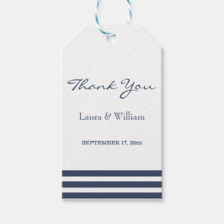 Wedding Thank You Gift Tags | Navy Stripes Pack Of Gift Tags