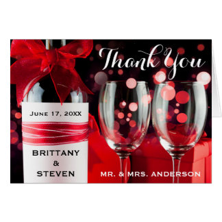 Wedding Thank You Glasses & Bottle Fold Card