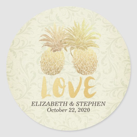 Wedding Thank You Gold Foil Pineapple Damask Paper Classic Round Sticker
