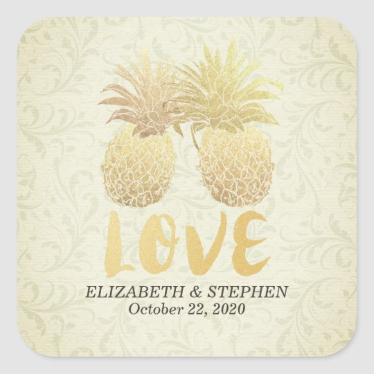 Wedding Thank You Gold Foil Pineapple Damask Paper Square Sticker