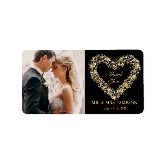 Wedding Thank You Gold Heart Address Labels