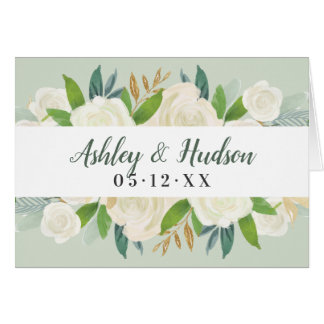Wedding Thank You   Green Watercolor Blooms Card