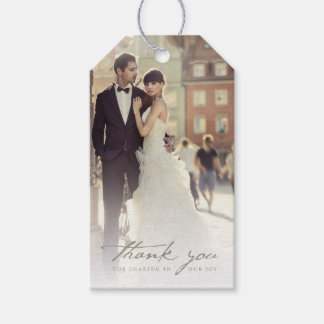 Wedding Thank You Handwrite Script Photo Gift Tags