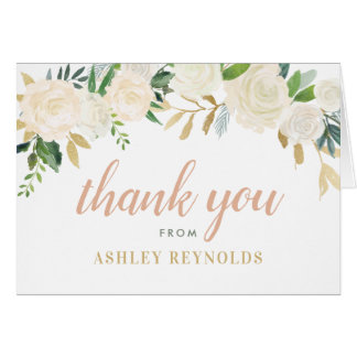Wedding Thank You   Neutral Watercolor Blooms Card