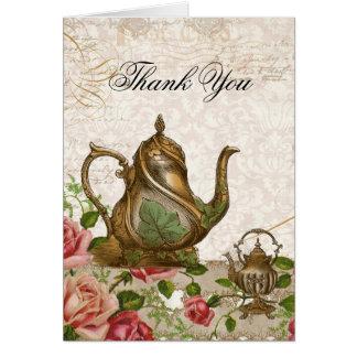 Wedding Thank You Note Card - Tea Pot Rose Vintage