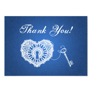 Wedding Thank You Note Key To My Heart Blue Card