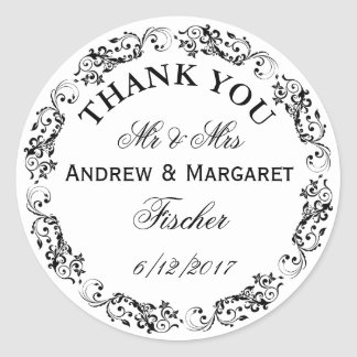 Wedding Thank You Note Stickers Personalized