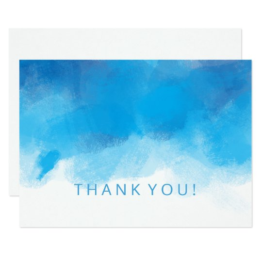 Wedding Thank You Note Summer Blue Watercolor Card