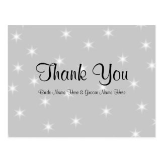 Wedding Thank You, Pale Gray with White Stars. Postcard