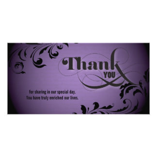 Wedding Thank You Photo Card Bold Swirl Script