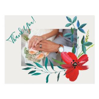 WEDDING THANK YOU PHOTO CARD,  ELEGANT FLOWER POSTCARD