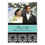 Wedding Thank You Photo Cards Teal Damask