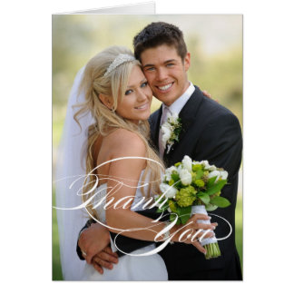WEDDING THANK YOU PHOTO FOLDED CARD | WHITE SCRIPT
