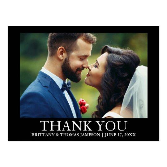 Wedding Thank You Photo Postcard Black and White