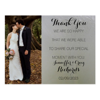 Wedding Thank You Photo Postcard White Floral