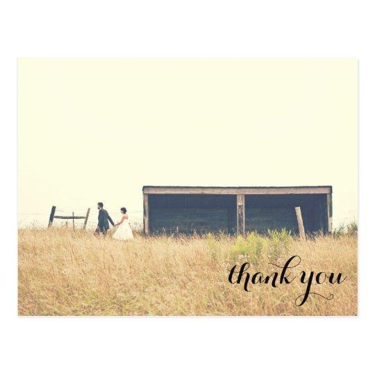 Wedding thank you postcard, simple corner text postcard