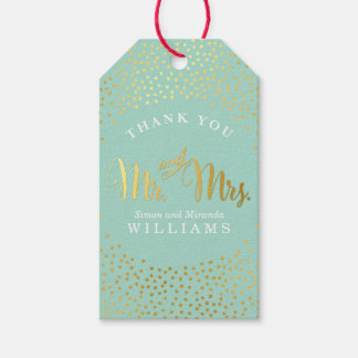 WEDDING THANK YOU rustic gold confetti spot MINT Pack Of Gift Tags