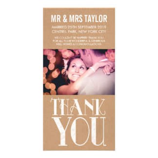 Wedding Thank You Rustic Neutral Photo Cards