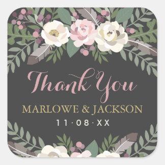 Wedding Thank You Stickers | Fall Vintage Boho
