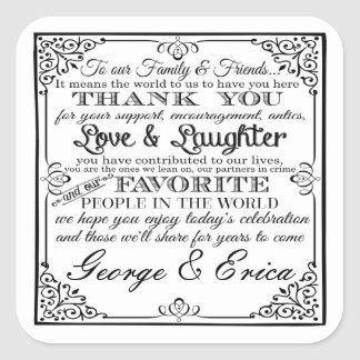 Wedding thank you stickers mr& mrs favor