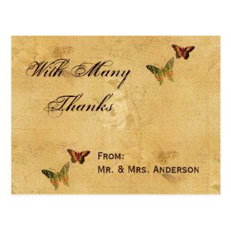Wedding Thank You Vintage Damask Beige Butterfly Postcard