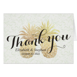 Wedding Thank You Vintage Gold Pineapple Couple Card
