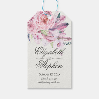 Wedding Thank You Watercolor Boho Floral Feather Gift Tags