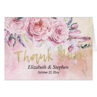Wedding Thank You Watercolor Boho Floral Feathers Card