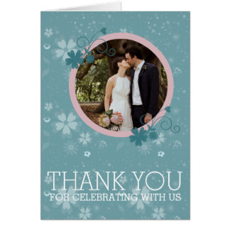 Wedding Thank You Winter Blue Floral Photo Card