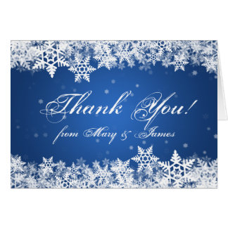Wedding Thank you Winter Snowflakes Blue Sapphire Card