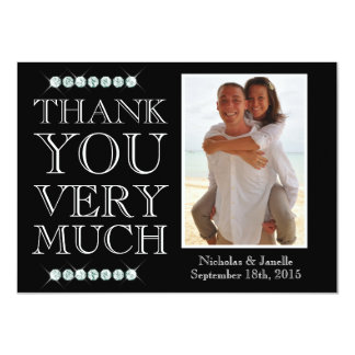 Wedding Thank You with Diamonds 4.5x6.25 Paper Invitation Card