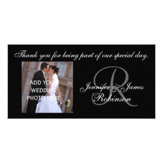 Wedding Thank You with Monogram R Names Photo Card