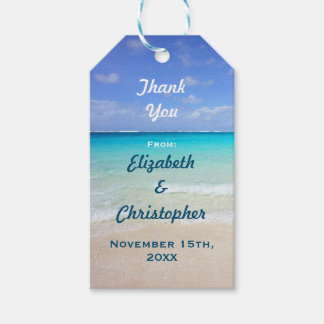 Wedding Thanks Azure Blue Caribbean Tropical Beach Gift Tags