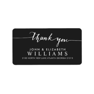 Wedding thanks Calligraphy | Black Address Label