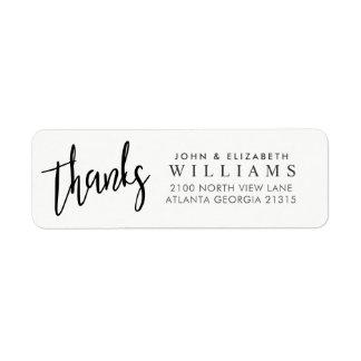 Wedding thanks Typography | Return Address