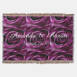Wedding Throw Blanket, Purple Rose