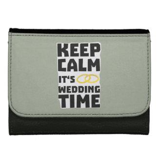 wedding time keep calm Zw8cz Leather Wallet