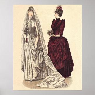 Wedding Vintage bridal party brides and bridesmaid Posters