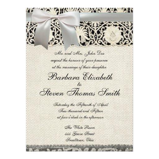 Wedding Vintage White Lace and Linen Announcements