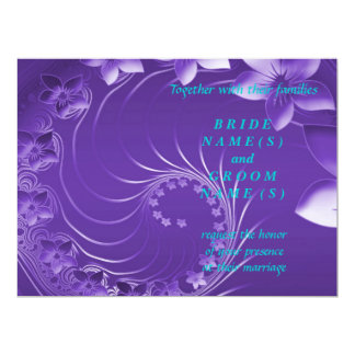 """Wedding - Violet Abstract Flowers 6.5"""" X 8.75"""" Invitation Card"""
