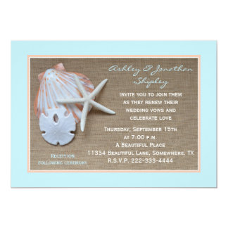 "Wedding Vow Renewal Beach Burlap Look 5"" X 7"" Invitation Card"