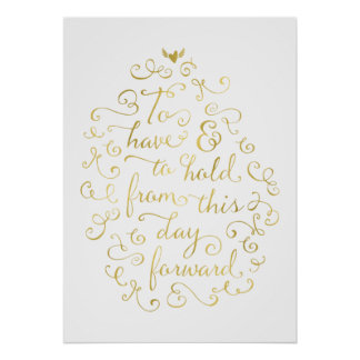 Wedding Vows | Faux Gold Foil Calligraphy Poster
