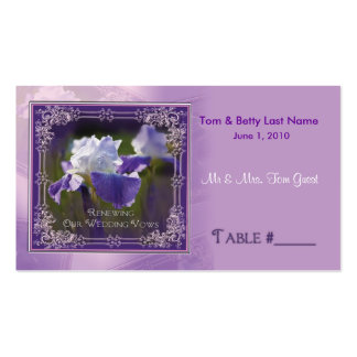 Wedding Vows Renewing - Iris Table Placement Cards Business Card
