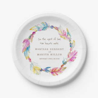 Wedding watercolor boho wreath custom plates