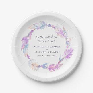 Wedding watercolor boho wreath purple plates