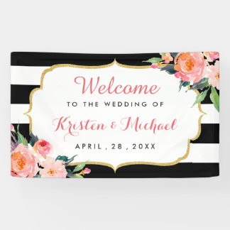 Wedding Watercolor Floral Black White Stripes Banner