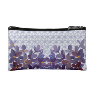 Wedding watercolor flowers with lace  pattern cosmetic bags