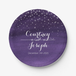 Wedding watercolor starry night paper plates 7 inch paper plate